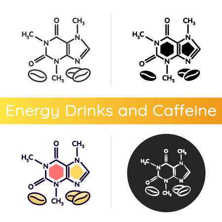 Caffeine icon. Scientific compound for caffeinated drink. Coffee bean supplement formula. Atomic bond of organic caffeinated additive. Linear black and RGB color styles. Isolated vector illustrations