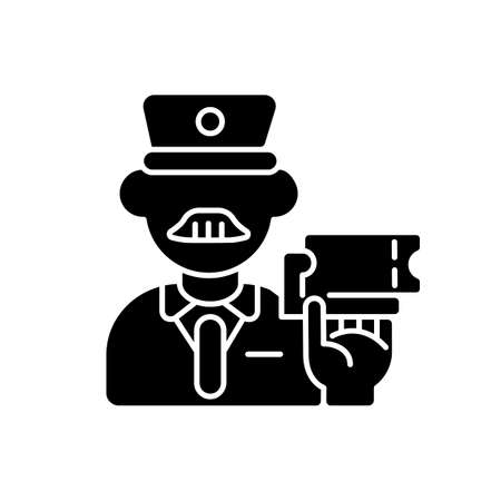 Ticket inspector black glyph icon. Train travel, railroad transportation service silhouette symbol on white space. Railway company worker, controller checking tickets vector isolated illustration