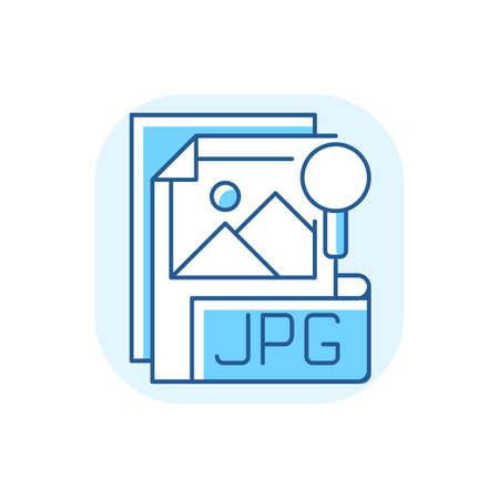 JPG file blue RGB color icon. Compressed image format. Digital images. JPEG. Lossless coding mode. Standardized compression mechanism. Digital cameras, operating systems. Isolated vector illustration