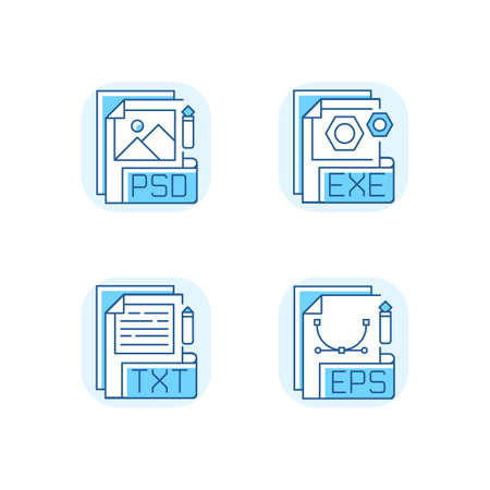 File types blue RGB color icons set. PSD. EXE. TXT. EPS. Raster image, vector image, executable files. Simple text editors. Software installers. Document format. Isolated vector illustrations