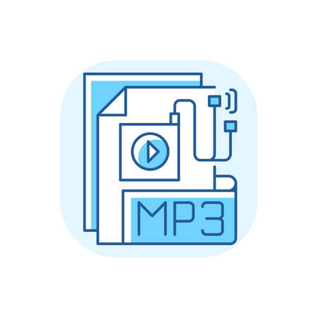 MP3 Audio file blue RGB color icon. File extension. Downloading song. Storing music. Lecture, audiobook, podcast. Compressed audio format. Encoding and decoding algorithm. Isolated vector illustration