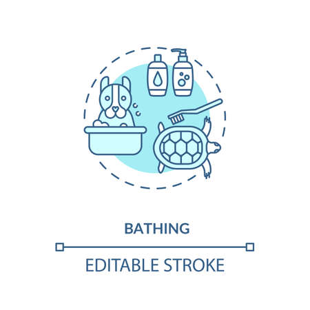 Bathing concept icon. Grooming services types. Animal salon. Dog and cat cleaning bath. Veterenary services idea thin line illustration. Vector isolated outline RGB color drawing. Editable stroke Ilustração