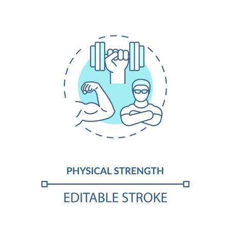 Physical strength building concept icon. Sports energetics idea thin line illustration. Physical condition. Stamina development. Exercises. Vector isolated outline RGB color drawing. Editable stroke Иллюстрация