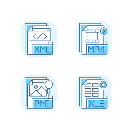 File types blue RGB color icons set. XML. MP4. PNG. XLS. Spreadsheet, data, video, raster image files. Extensible markup language. MPEG-4. Digital multimedia container. Isolated vector illustrations