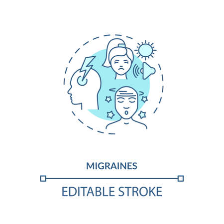 Migraines concept icon. Headache trigger idea thin line illustration. Debilitating headaches. Medical condition. Intense, pounding migraine. Vector isolated outline RGB color drawing. Editable stroke