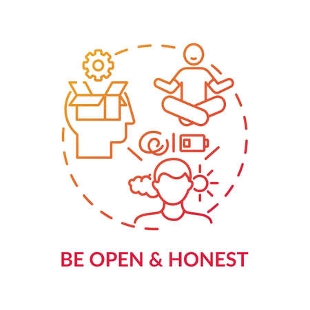 Be open and honest concept icon. Self-worth sense idea thin line illustration. Mutual understanding. Empathy. Openness, vulnerability. Truthfulness. Vector isolated outline RGB color drawing