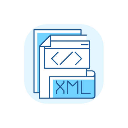 XML file blue RGB color icon. Extensible markup language. Text editor. Storing and transport data. Conversion. Standard office file format. Structuring, displaying data. Isolated vector illustration
