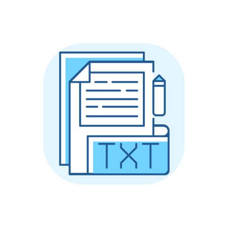 TXT file blue RGB color icon. File extension. Simple text editors. Information storing. Plain text without formatting. Universal platform files. Unformatted documents. Isolated vector illustration