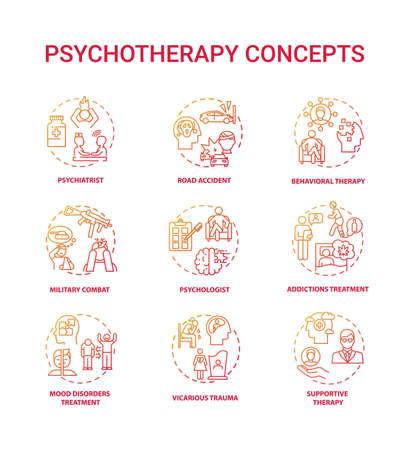 Psychotherapy concept icons set. Mental health treatment idea thin line RGB color illustrations. Vicarious trauma. Military combat. Supportive, behavioral therapy. Vector isolated outline drawings 版權商用圖片 - 155818575