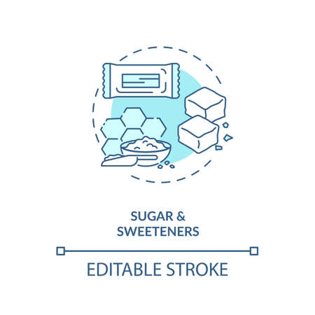 Sugar and sweeteners concept icon. Diet energy drinks idea thin line illustration. Food additives. Sugar substitutes. Honey. Vector isolated outline RGB color drawing. Editable stroke