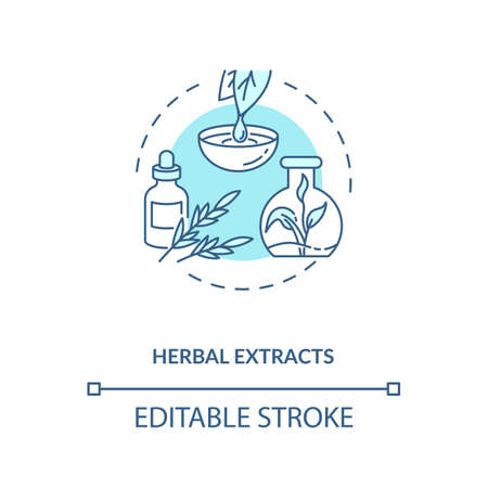 Herbal extracts concept icon. Botanical ingredients in energy drinks idea thin line illustration. Herbal tinctures. Phytochemicals. Vector isolated outline RGB color drawing. Editable stroke