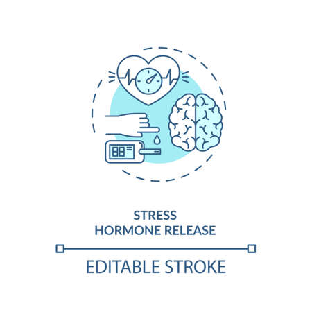 Stress hormone release concept icon. Heart rate increase idea thin line illustration. Energy supplies boost. Hormone cortisol high level. Vector isolated outline RGB color drawing. Editable stroke