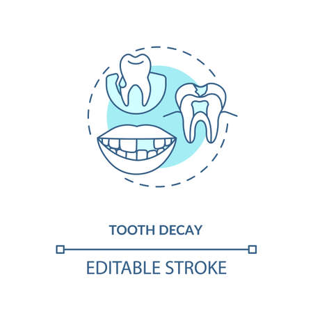 Tooth decay concept icon. Energy drinks negative side effects idea thin line illustration. Enamel destruction. Dental caries, cavities. Vector isolated outline RGB color drawing. Editable stroke