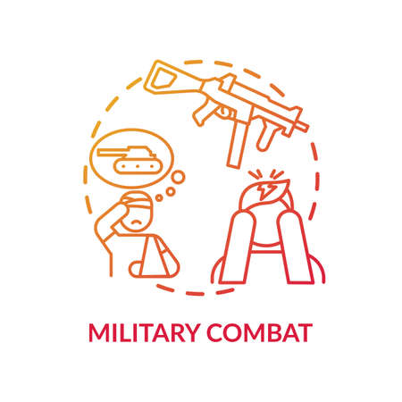 Military combat concept icon. Posttraumatic stress disorder idea thin line illustration. Veterans issues. Cognitive-behavioral therapy. Counseling. Vector isolated outline RGB color drawing
