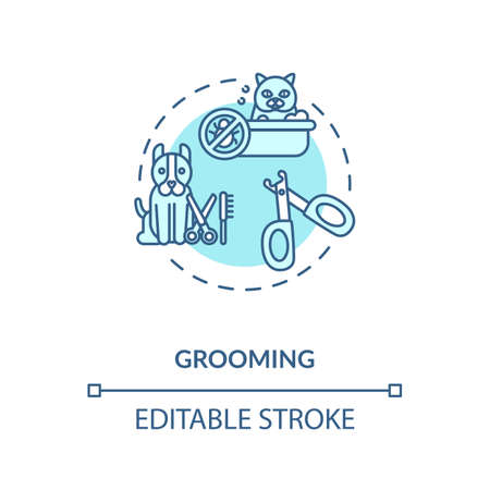Grooming concept icon. Pet services. Animal style care salon. Little companion health. Vetirenary idea thin line illustration. Vector isolated outline RGB color drawing. Editable stroke Ilustração