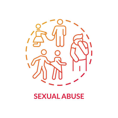 Sexual abuse concept icon. Domestic violence idea thin line illustration. Women victims. Posttraumatic stress disorder. Physical and psychological injuries. Vector isolated outline RGB color drawing