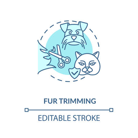 Fur trimming concept icon. Grooming services types. Furry animals hairstyle. Pet beauty grooming center. Style idea thin line illustration. Vector isolated outline RGB color drawing. Editable stroke Ilustração