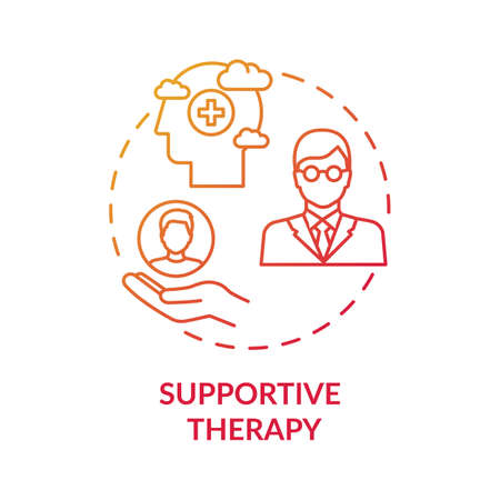 Supportive therapy concept icon. Physiological well-being improvement idea thin line illustration. Doctor-patient encounter. Life stress management. Vector isolated outline RGB color drawing