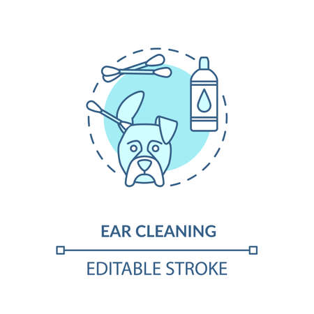 Ear cleaning concept icon. Grooming services types. Animal care instructions. Veterenary options idea thin line illustration. Vector isolated outline RGB color drawing. Editable stroke