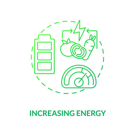 Increasing energy concept icon. Getting better imune system. Health upgrading. Vegan eating. Vegetarianism pros idea thin line illustration. Vector isolated outline RGB color drawing