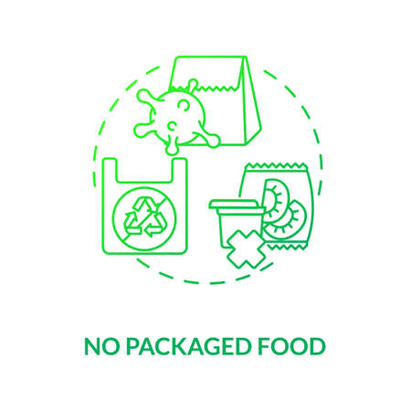 No packaged food concept icon. Environment polution with plastic. Vegan foods ideas. Vegan meals. Sustainable diet idea thin line illustration. Vector isolated outline RGB color drawing Illustration