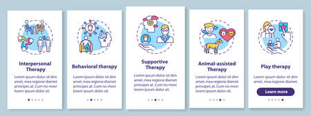 Psychotherapy types onboarding mobile app page screen with concepts. Interpersonal, supportive therapy walkthrough 5 steps graphic instructions. UI vector template with RGB color illustrations