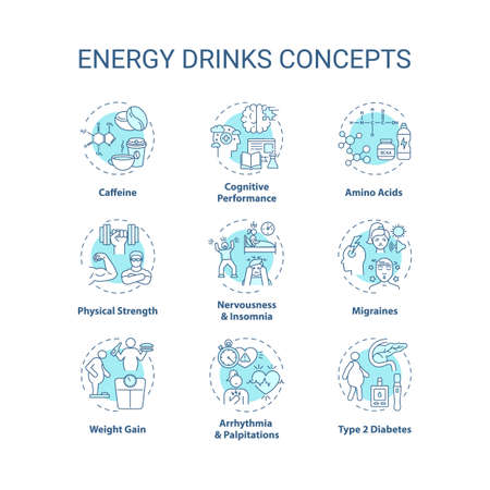 Energy drinks concept icons set. Health issues idea thin line RGB color illustrations. Caffeine. Migraines. Amino acids. Physical strength. Vector isolated outline drawings. Editable stroke