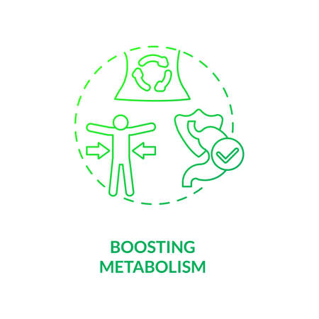 Boosting metabolism concept icon. Health care ideas. Getting nutritions from foods. Better body advices. Vegetarianism pros idea thin line illustration. Vector isolated outline RGB color drawing