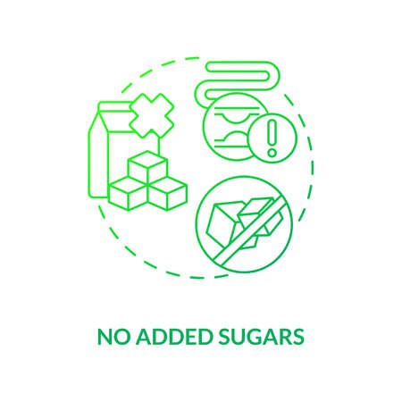 No added sugars concept icon. Healthy cooking components types. Vegan meals preparation ideas. Sustainable diet idea thin line illustration. Vector isolated outline RGB color drawing Ilustração
