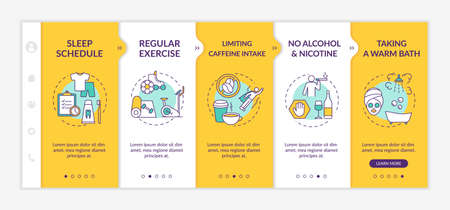 Sleep improvement onboarding vector template. Nighttime routine for better dreaming. No alcohol and nicotine. Responsive mobile website with icons. Webpage walkthrough step screens. RGB color concept Illusztráció