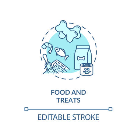 Food and treats concept icon. Dogs day camp services. Most loved puppy treatments. Tasty snacks idea thin line illustration. Vector isolated outline RGB color drawing. Editable stroke