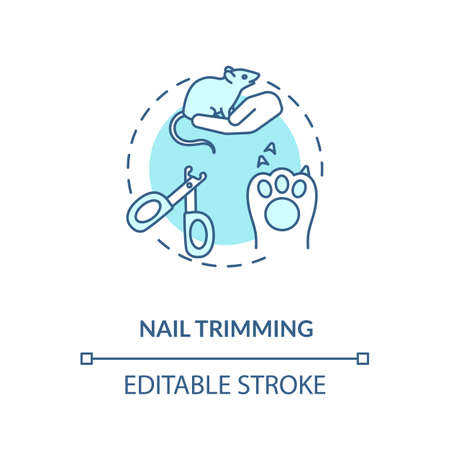 Nail trimming concept icon. Grooming services types. Animal health improving ideas. Veterenary center services idea thin line illustration. Vector isolated outline RGB color drawing. Editable stroke