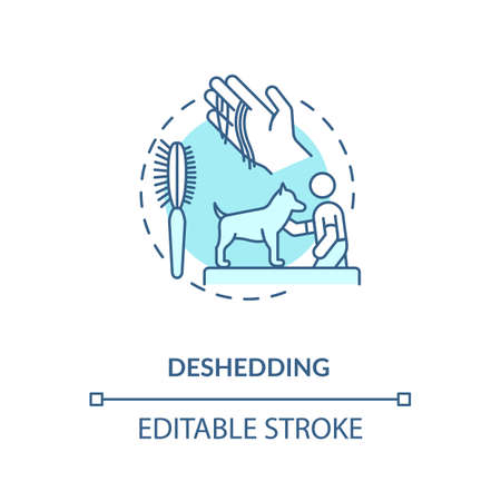 Deshedding concept icon. Grooming services types. Hairstyle choosing for animals. Pet beaty center. Veterenary idea thin line illustration. Vector isolated outline RGB color drawing. Editable stroke