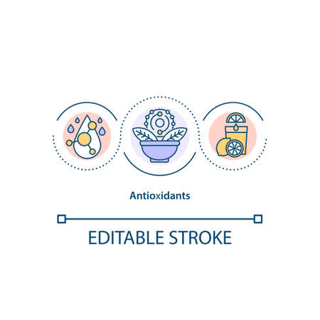 Antioxidants concept icon. Natural defense system idea thin line illustration. Excretion of toxins. Substances Vector isolated outline RGB color drawing. Editable stroke