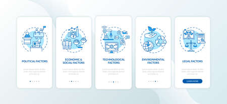 PESTEL analysis onboarding mobile app page screen with concepts. Different communicational troubles walkthrough 5 steps graphic instructions. UI vector template with RGB color illustrations