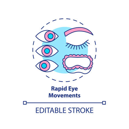 Rapid eyes movement concept icon. Sleeping cycle. Dreaming phase while asleep. Rest pattern. REM stage idea thin line illustration. Vector isolated outline RGB color drawing. Editable stroke Vektoros illusztráció