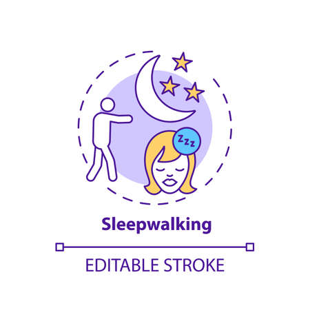 Sleepwalking concept icon. Somnambulism symptom. Walk in dream. Healthcare problem. Sleep disorder idea thin line illustration. Vector isolated outline RGB color drawing. Editable stroke Stock fotó - 155822231