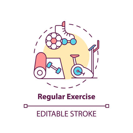 Regular exercise concept icon. Workout routine. Cardio training in gym. Body care for better sleep idea thin line illustration. Vector isolated outline RGB color drawing. Editable stroke