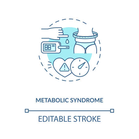 Metabolic syndrome concept icon. Heart disease stroke risk idea thin line illustration. High blood sugar. Excess body fat around waist. Vector isolated outline RGB color drawing. Editable stroke Stock Illustratie