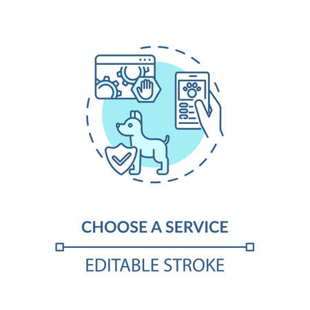 Choose a service concept icon. Grooming salon services app. Pet care center services. Animal shelter idea thin line illustration. Vector isolated outline RGB color drawing. Editable stroke