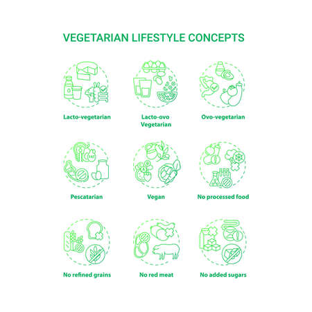 Vegetarian lifestyle concept icons set. No added sugars. Lacto ovo vegetarian eating plan. Types of vegetarian diets. idea thin line RGB color illustrations. Vector isolated outline drawings