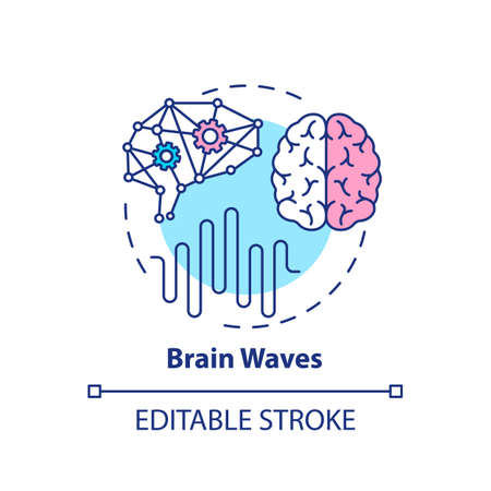 Brain waves concept icon. Clinical screening. Cerebral study. Neurology test. Medical examination idea thin line illustration. Vector isolated outline RGB color drawing. Editable stroke