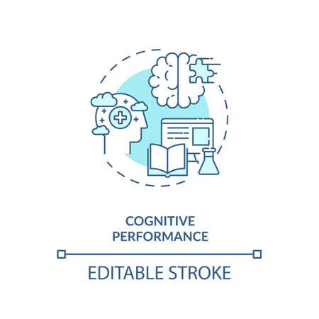Cognitive performance concept icon. Energetics effects idea thin line illustration. Enhanced mental performance. Brain function improvement. Vector isolated outline RGB color drawing. Editable stroke Illusztráció