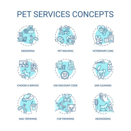 Pet services concept icons set. Grooming center services app. Grooming services options. Animal care idea thin line RGB color illustrations. Vector isolated outline drawings. Editable stroke Ilustração