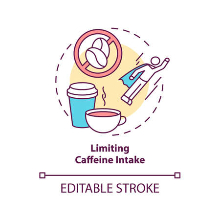 Limiting caffeine intake concept icon. Avoid coffee and tea before bed. Improve sleep hygiene idea thin line illustration. Vector isolated outline RGB color drawing. Editable stroke