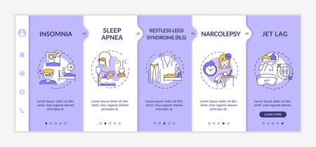 Insomnia types onboarding vector template. Sleep disorder symptom. Restless legs syndrome. Responsive mobile website with icons. Webpage walkthrough step screens. RGB color concept