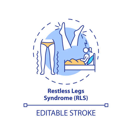 Restless legs syndrome concept icon. Insomnia cause. Healthcare problem symptom. Sleep disorder treatment idea thin line illustration. Vector isolated outline RGB color drawing. Editable stroke