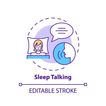 Sleeptalking concept icon. Talk while asleep. Parasomnia symptom. Psychological problem. Sleep disorder idea thin line illustration. Vector isolated outline RGB color drawing. Editable stroke