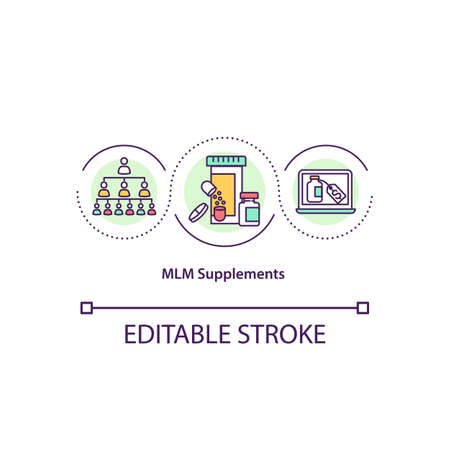MLM supplements concept icon. Pyramid scheme business. Online buying pills and medicines. Network marketing idea thin line illustration. Vector isolated outline RGB color drawing. Editable stroke Ilustrace