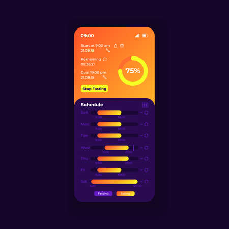 Fasting tracker smartphone interface vector template. Mobile app page nightmode design layout. Controller daily diet screen. Flat UI for application. Eating interval reminder Phone display